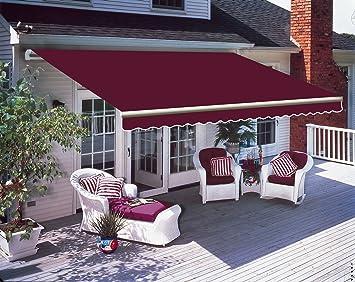 Greenbay 3 m x 2.5m DIY Patio Retractable Manual Awning Garden Sun Shade Canopy Wine Red & Greenbay 3 m x 2.5m DIY Patio Retractable Manual Awning Garden Sun ...
