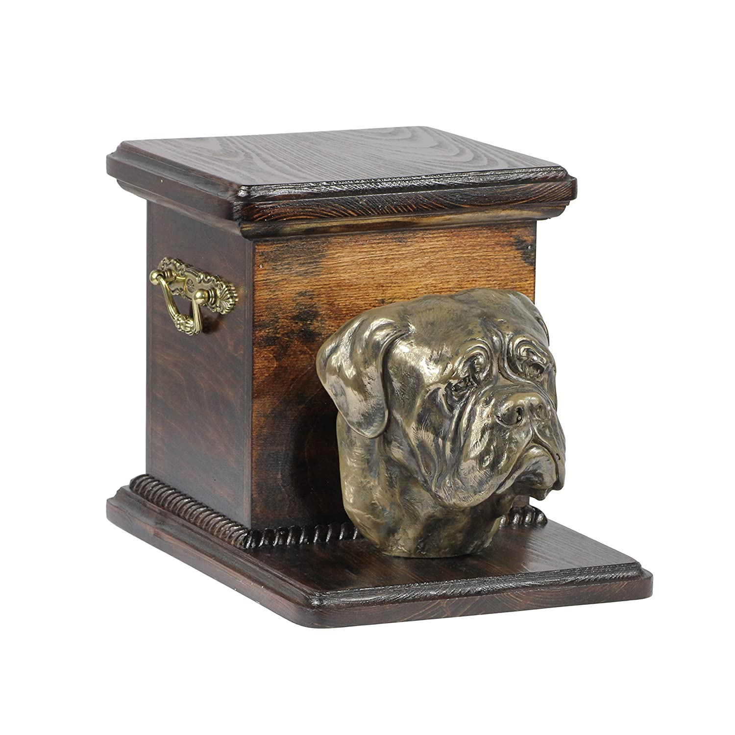 Dogue de Bordeaux, memorial, urn for dog's ashes, with dog statue, ArtDog