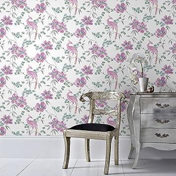 Designer Laurence Llewelyn-Bowen Singapore Trail Floral Oriental Glitter Wallpaper