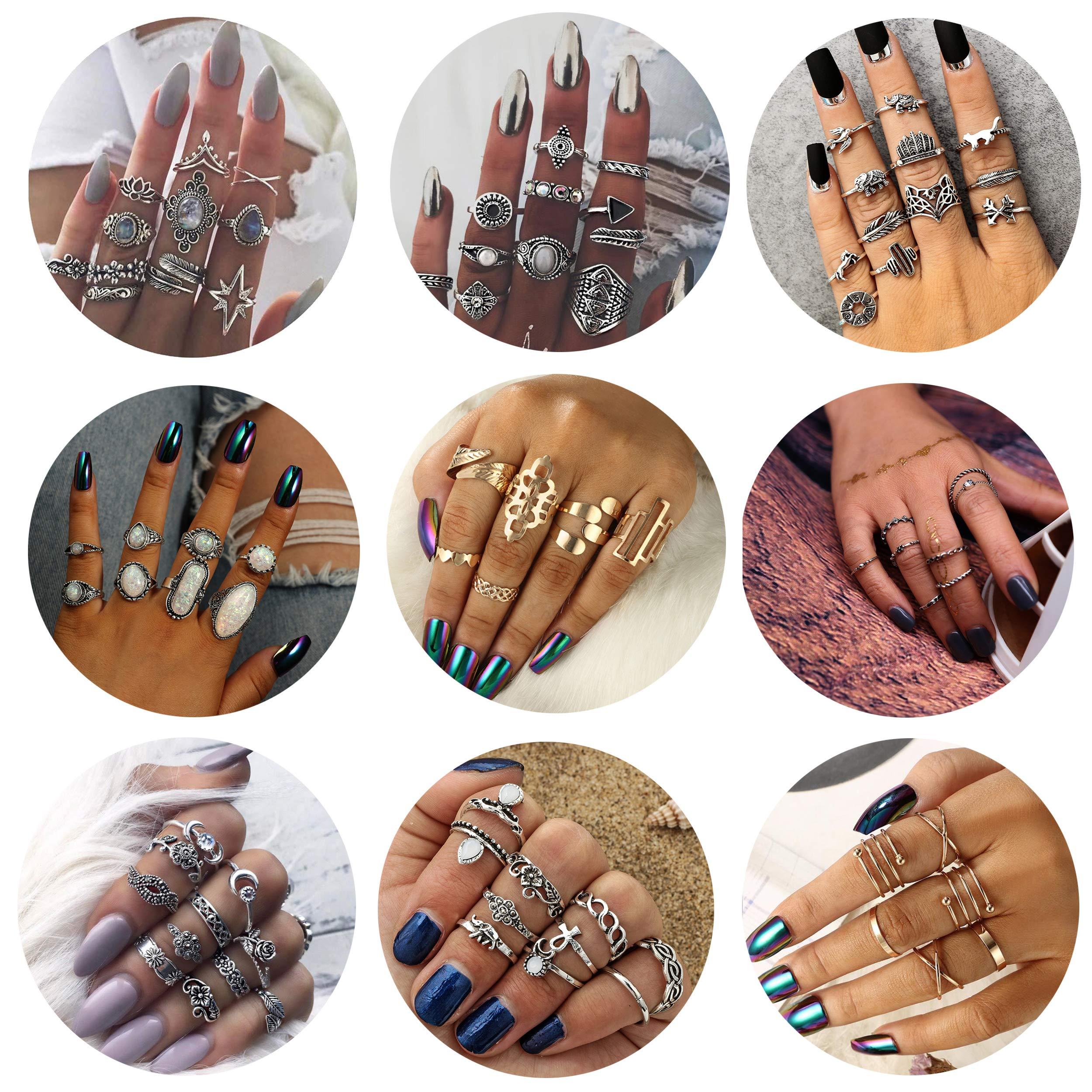 Besteel 82 Pcs Womens Knuckle Rings for Girls Stackable Midi Joint Finger Ring Set (E:82 Pcs A Set)