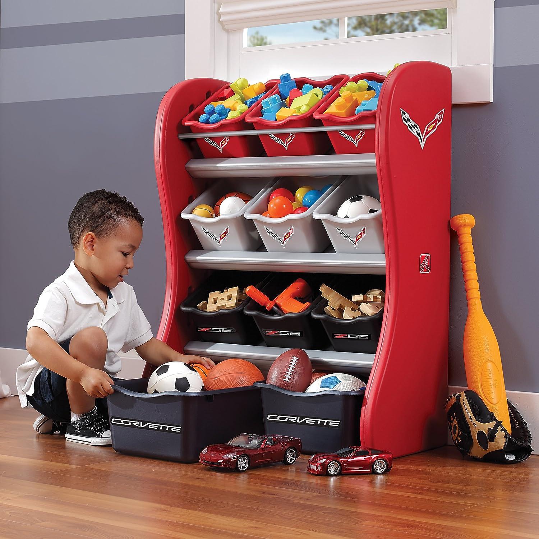 cars furniture kids Step2 Corvette Room Organizer Red Black Gray