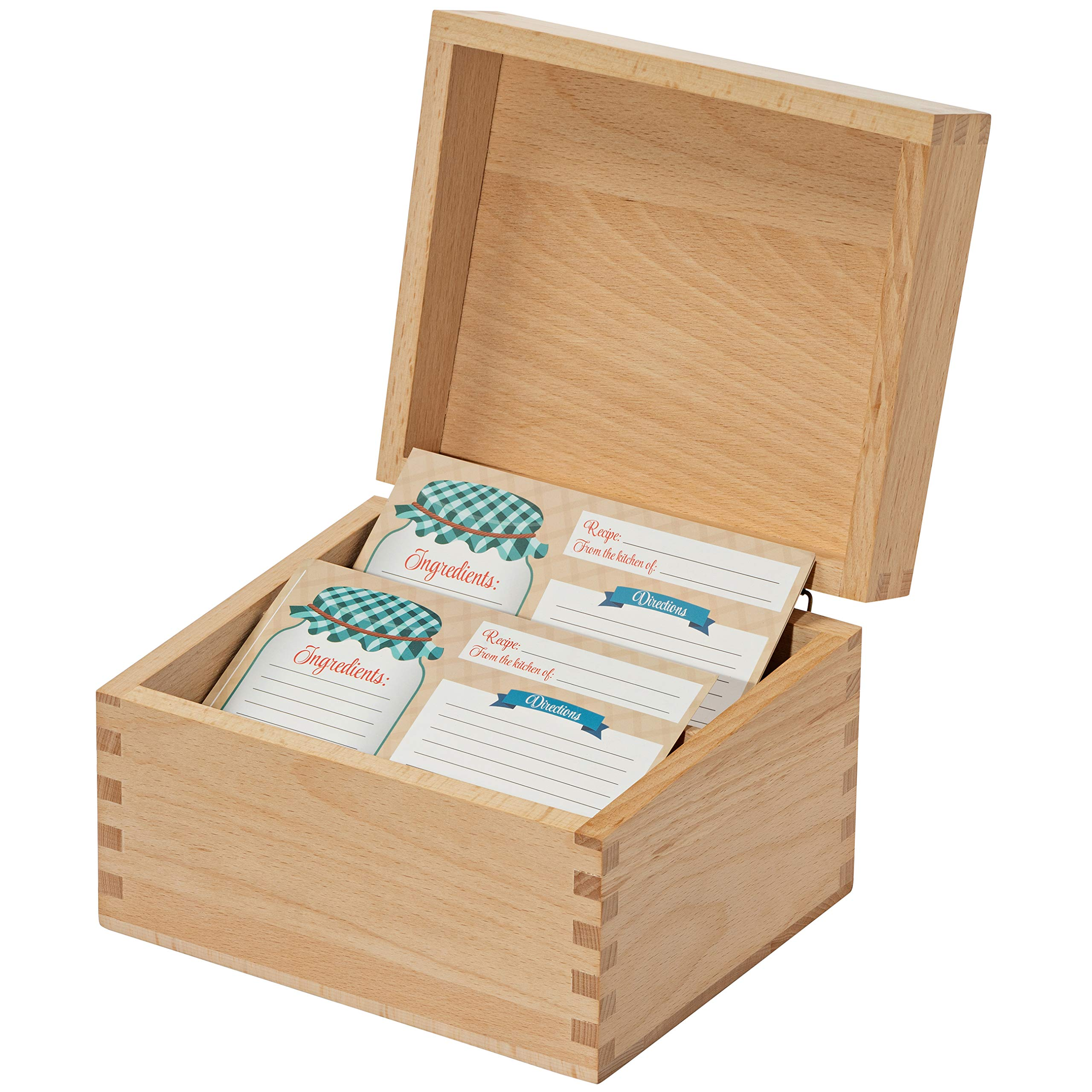 Recipe Box Card Set with 8 4x6 Recipe Cards, Beechwood and Card Holder, Cards Made with Thick Card Stock. Perfect Recipe Organizer. (Beechwood)
