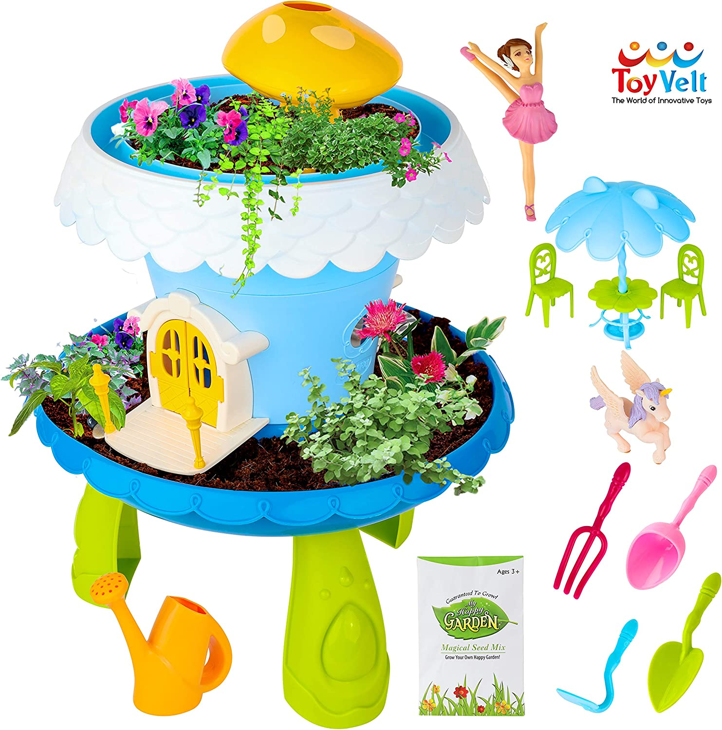 ToyVelt Fairy Garden Kit for Kids - Grow Your Own Fairy House with Soil and Seeds Plus 15 Exciting Accerioeroies with Music and Lights - The Best Fairy Garden Kit for Boys and Girls Ages 4 and up