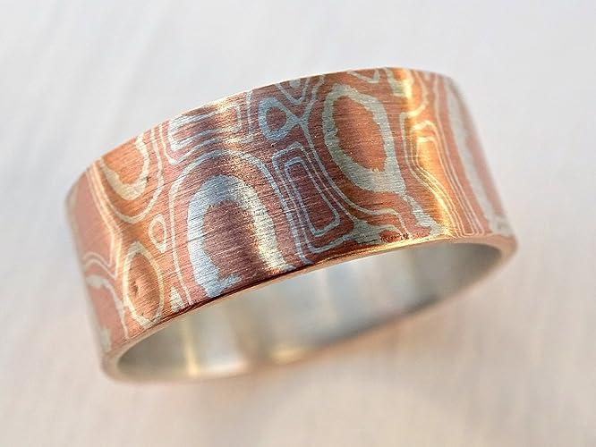 Amazon com: mokume gane rings mens, mens mokume ring, mokume
