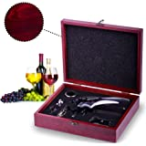 Rabbit Wine Opener Set with Wine Stoppers, Drip Ring, Foil Cutter and Extra Corkscrew – Premium 6-Piece Gift Set in Elegant Cherry Wood Case