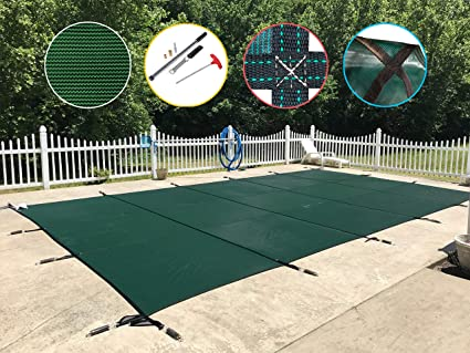 Pool Safety Cover for a 12 x 24 Pool, Green Mesh