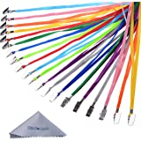 Wisdompro 30 Pack of 17 Inch Colorful Blank Flat Woven Nylon Neck Lanyards /Straps /Strings with Metal Bulldog Clip Attachment for Office ID Name Tags and Badge Holders - Assorted Colors