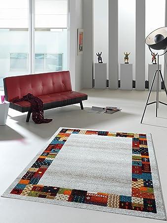 Teppich Designer Wohnzimmer Teppich Hochwertig Trend Mit Bordüre Multicolor    120x170 Cm   Schadstofffrei   Bunt