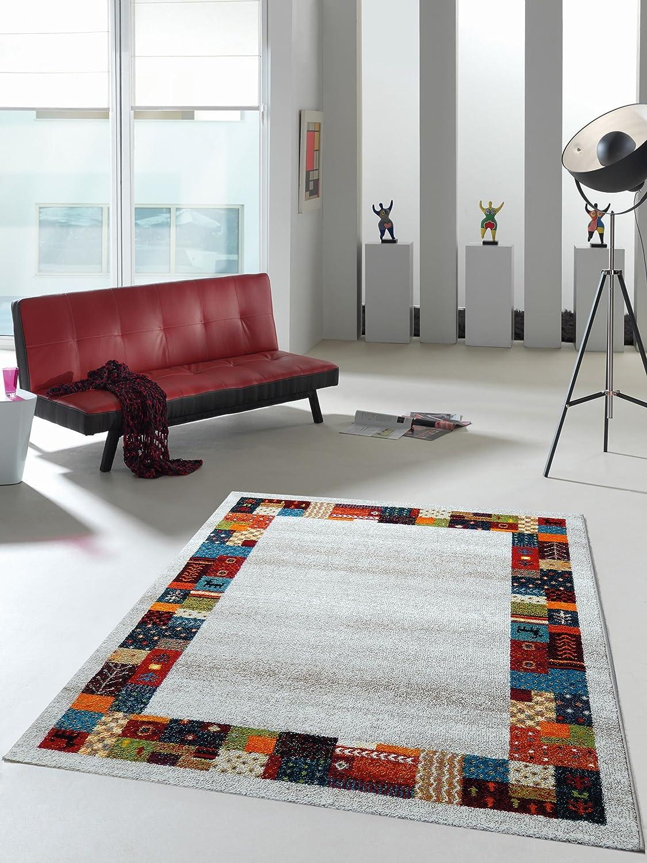 Teppich Designer Wohnzimmer Teppich Hochwertig Trend mit Bordüre Multicolor - 160x230 cm - schadstofffrei - bunt