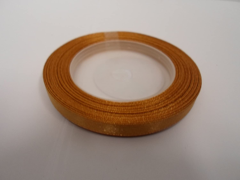 1 Roll of 6mm x 13 metres Satin Ribbon caramel light brown 6 mm