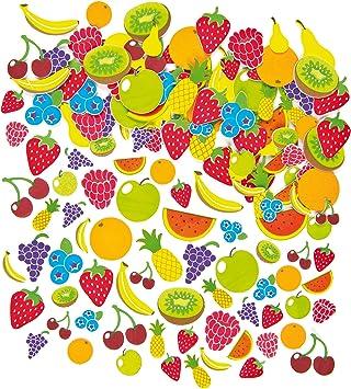 Baker Ross- Pegatinas de Espuma con Diseños de Frutas (Pack de 120) para Decorar Tarjetas, Cuadernos, Manualidades y Collages Infantiles: Amazon.es: Juguetes y juegos