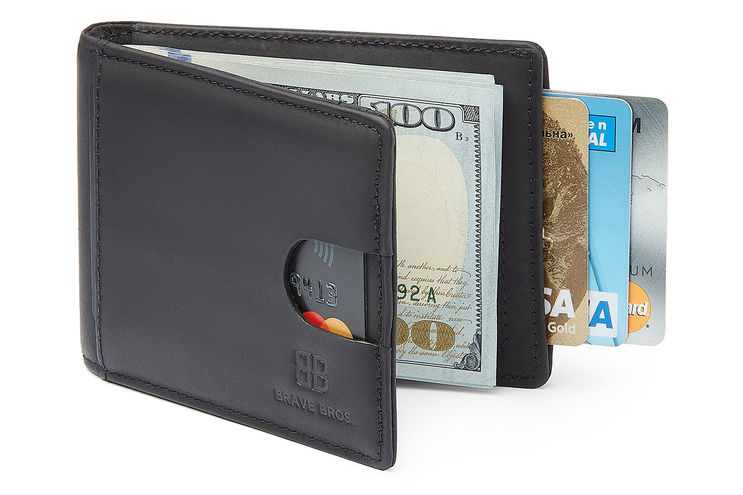BRAVE BROS - Slim Bifold Genuine Leather front Pocket Wallet with Money Clip RFID Blocking Thin Minimalist Wallets for Men (Charcoal Black)