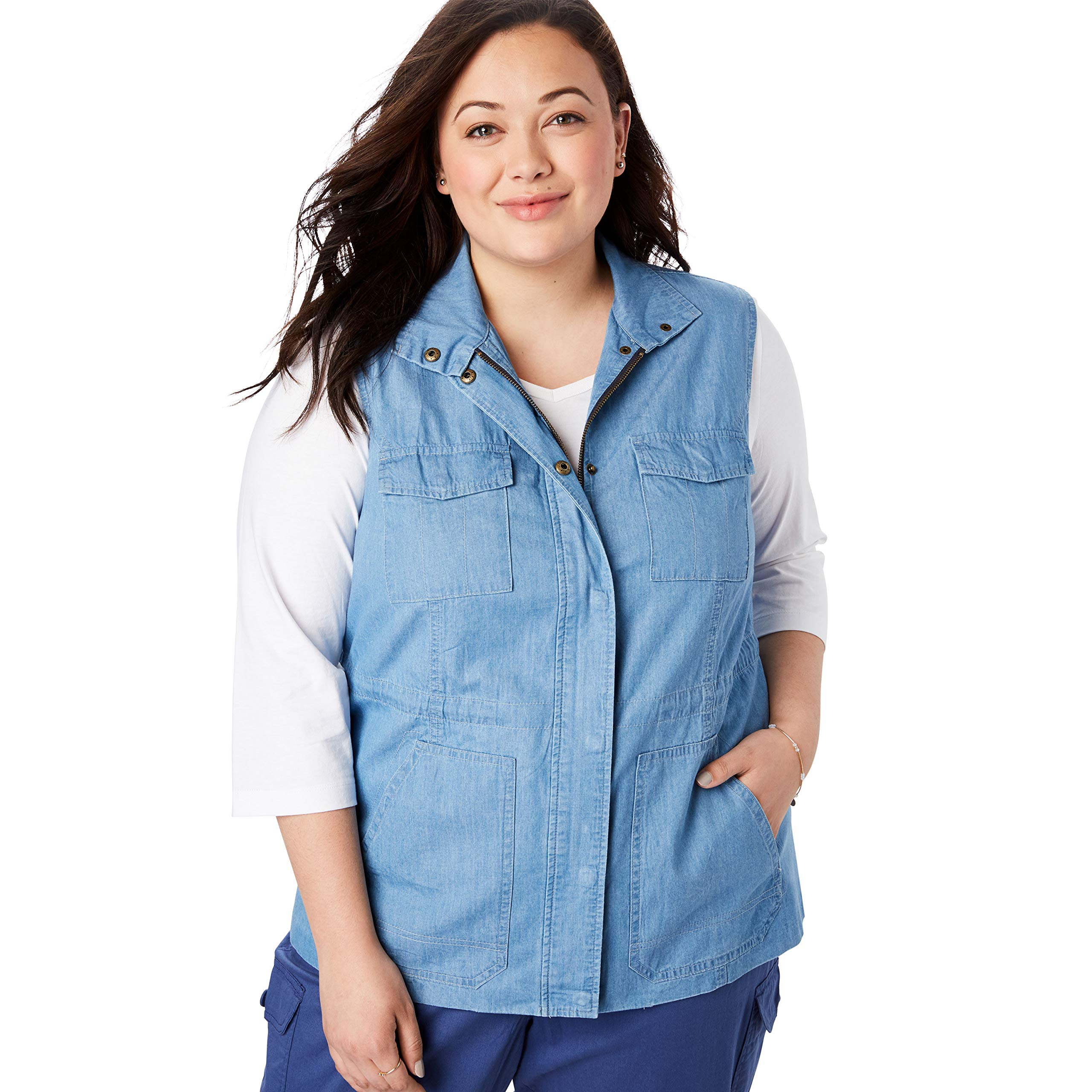 Woman Within Women's Plus Size Utility Vest - Bleach, 4X by Woman Within