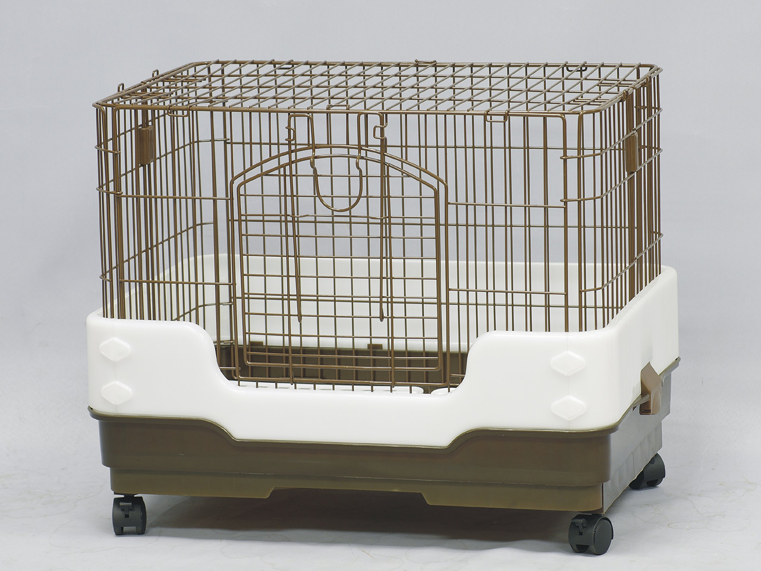 Homey Pet Rabbit Chinchilla Hamster Rat Ferret Cage with Pull out tray, Urine Guard and Lockable Casters, Brown, L26''x W18''x H21''