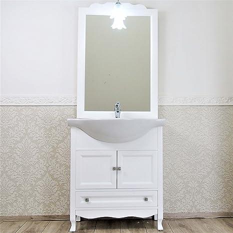 Lechic Arredamenti Mobile Bagno 75 cm Base con lavabo Shabby Chic in ...