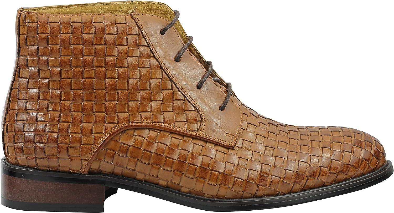 Cuero de la Vendimia Real Tejida Mano XPOSED Hombres de Botas de Encaje hasta los Zapatos Derby Tobillo en Negro y Tan Brown Marrón