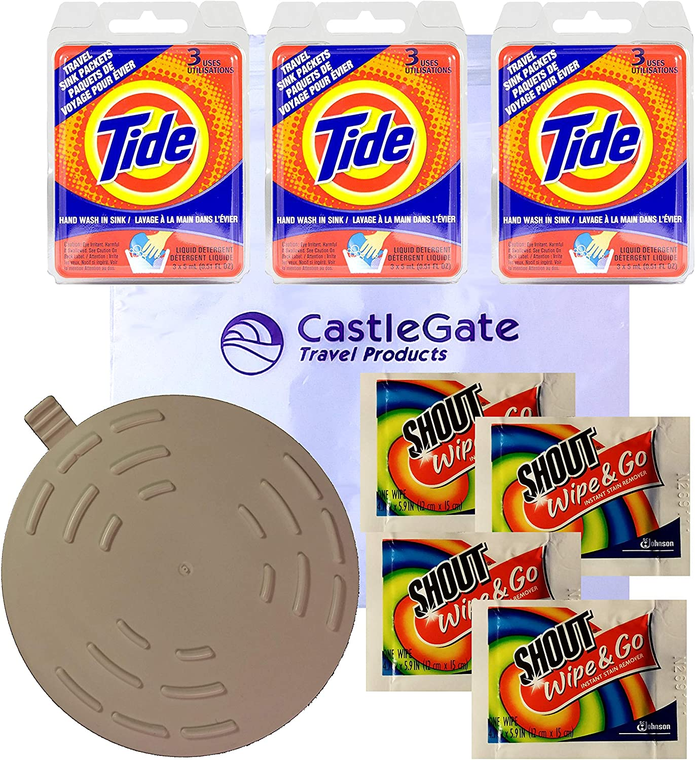 Travel Laundry Kit with Tide Sink Packs Laundry Detergent, Shout Wipes and Drain Stopper