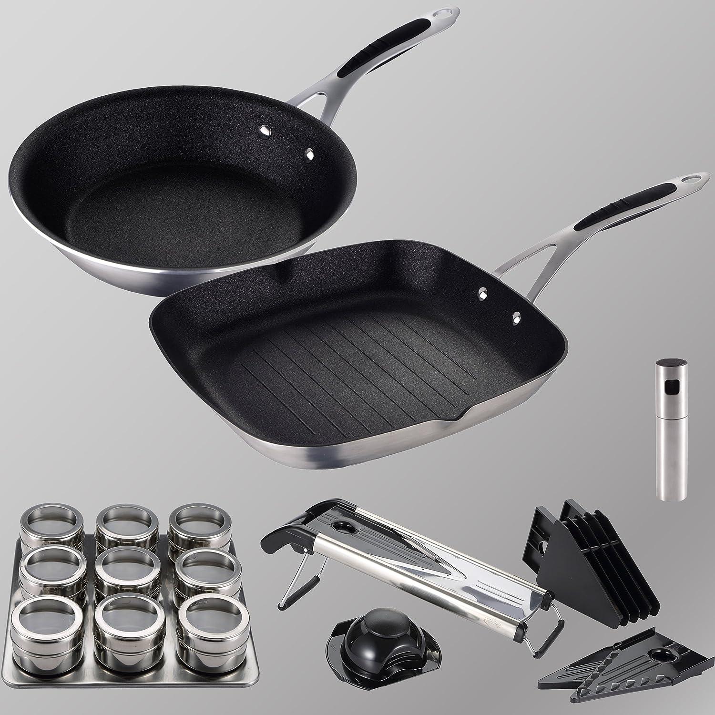 MasterPro Gravity: Set Gran Formato: Incluye Sartén Ø28 cm asador Grill 28x28 cm, Aluminio prensado, aptas para inducción: Amazon.es: Hogar