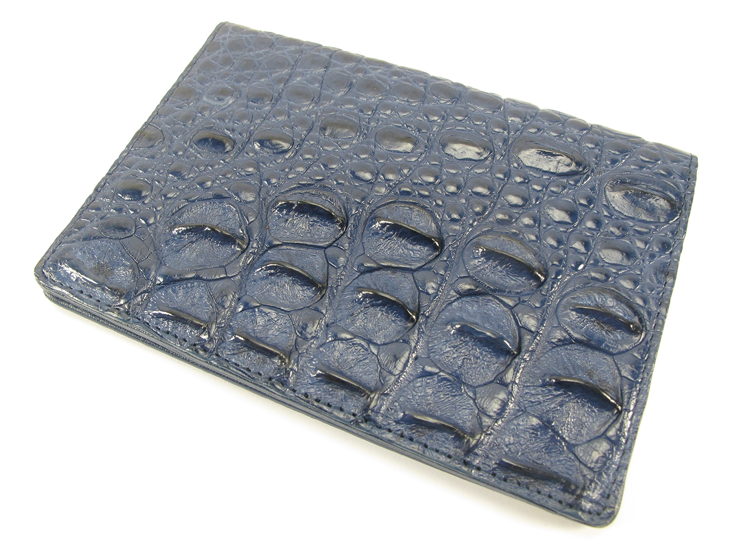 PELGIO Genuine Crocodile Alligator Skin Leather Passport Holder Wallet Blue