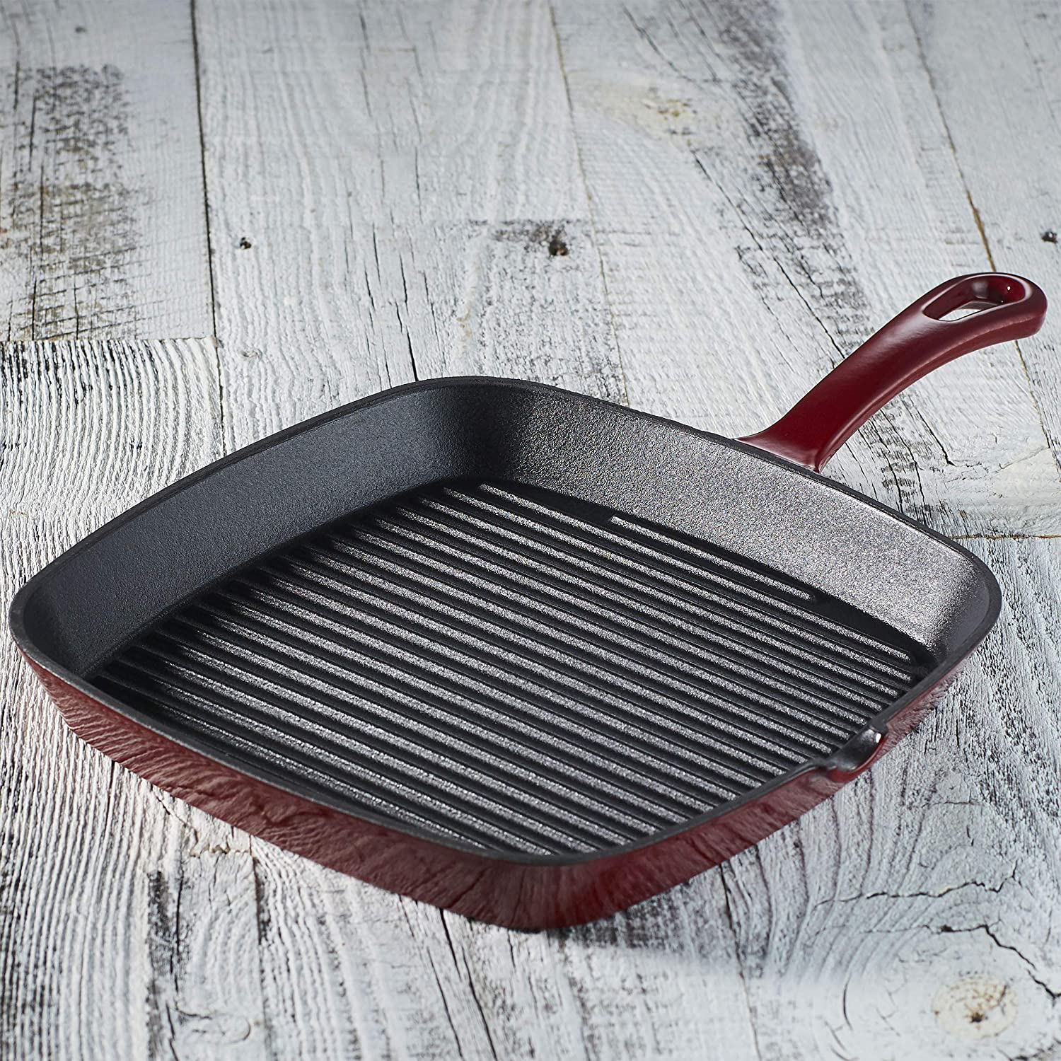 Cuisinart CI30-23CR Chef's Classic Enameled Cast Iron 9-1/4-Inch Square Grill Pan, Cardinal Red CI30-23-PARENT