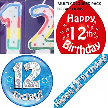 12th Birthday Party Set Boys Age 12 Boy Kit Banner Balloons Candle Badge Amazoncouk Toys Games