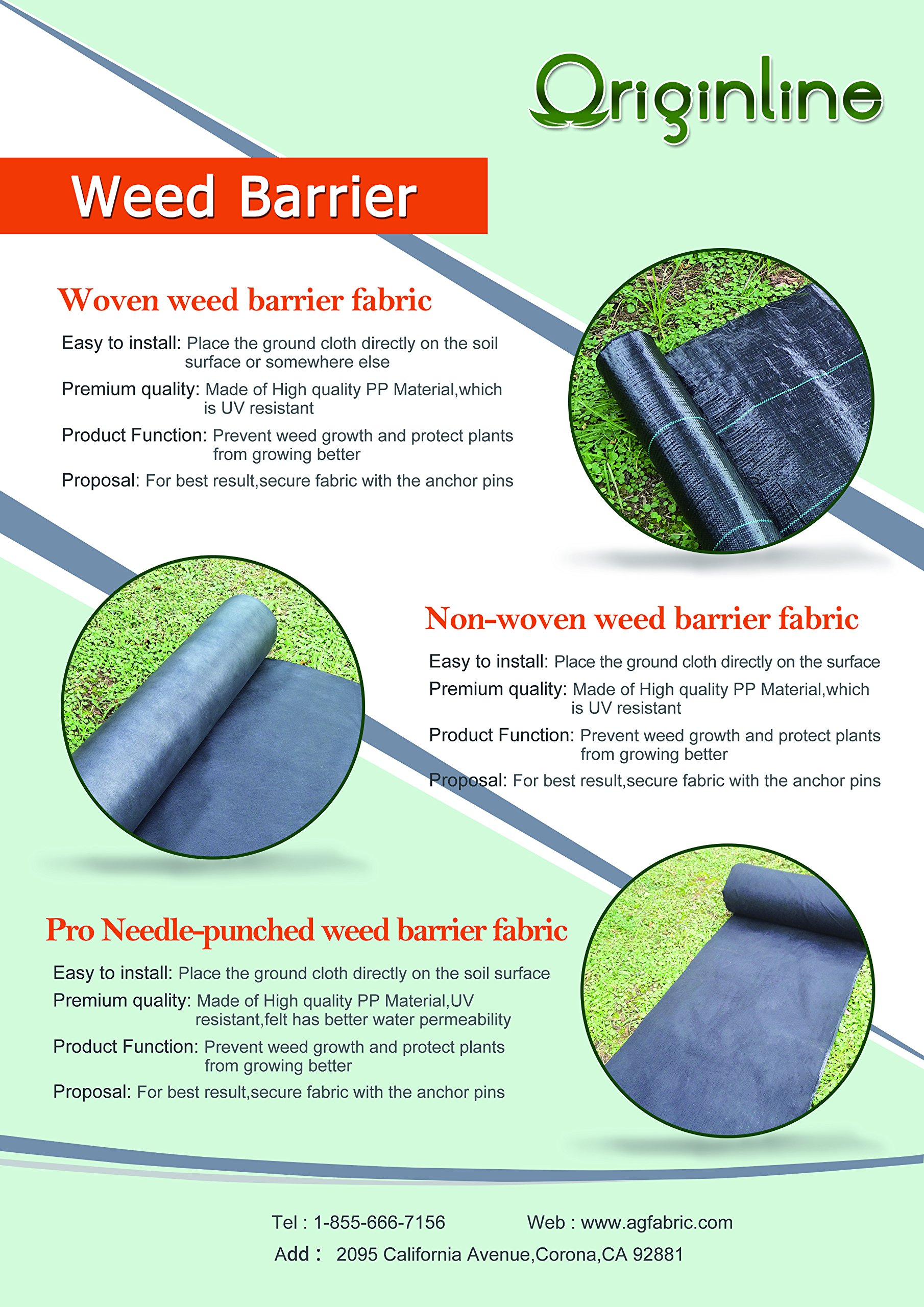 Originline 3.2 Oz Premium Weed Control Fabric Ground Cover Weed Barrier Eco-Friendly for Vegetable Garden Landscape,6x330ft,Black)