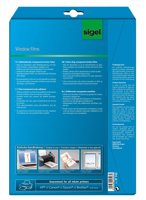 SIGEL IF142 Pellicola Finestre 310 /µm A4 rimovibile pi/ù volte 4 fg. InkJet