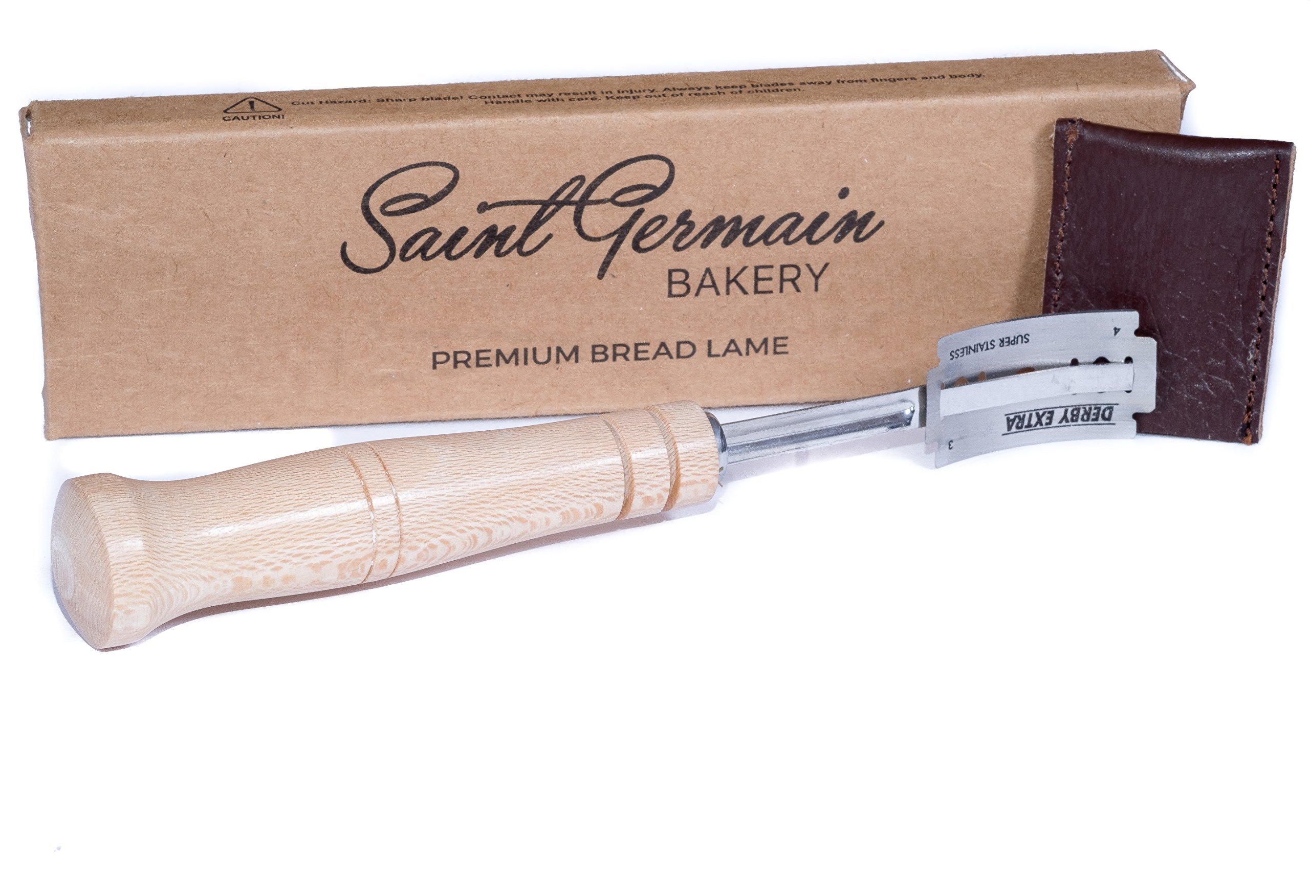 SAINT GERMAIN Premium Hand Crafted Bread Lame with 6 Blades Included - Best Dough Scoring Tool with Authentic Leather Protective Cover by Saint Germain