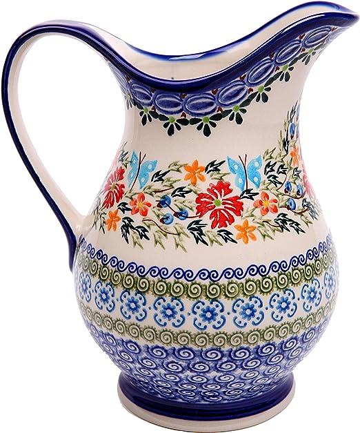Pitcher Jacek 1 0205-238 Royal Blue Patterns with Red Cornflower and Blue Butterflies Motif Lidia/'s Polish Pottery Inc 1 Cup 0205//238 Polish Pottery Ceramika Boleslawiec