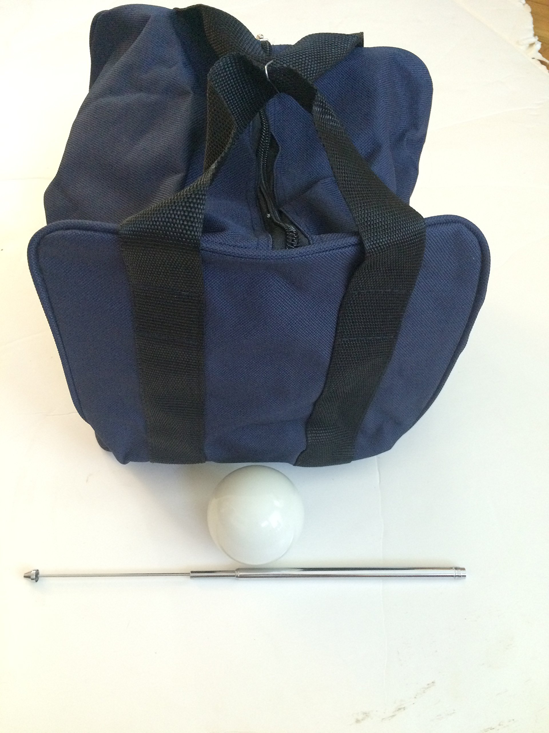 Unique Bocce Accessories Package - Extra Heavy Duty Nylon Bocce Bag (Blue with Black Handles), White pallina, Extendable Measuring Device