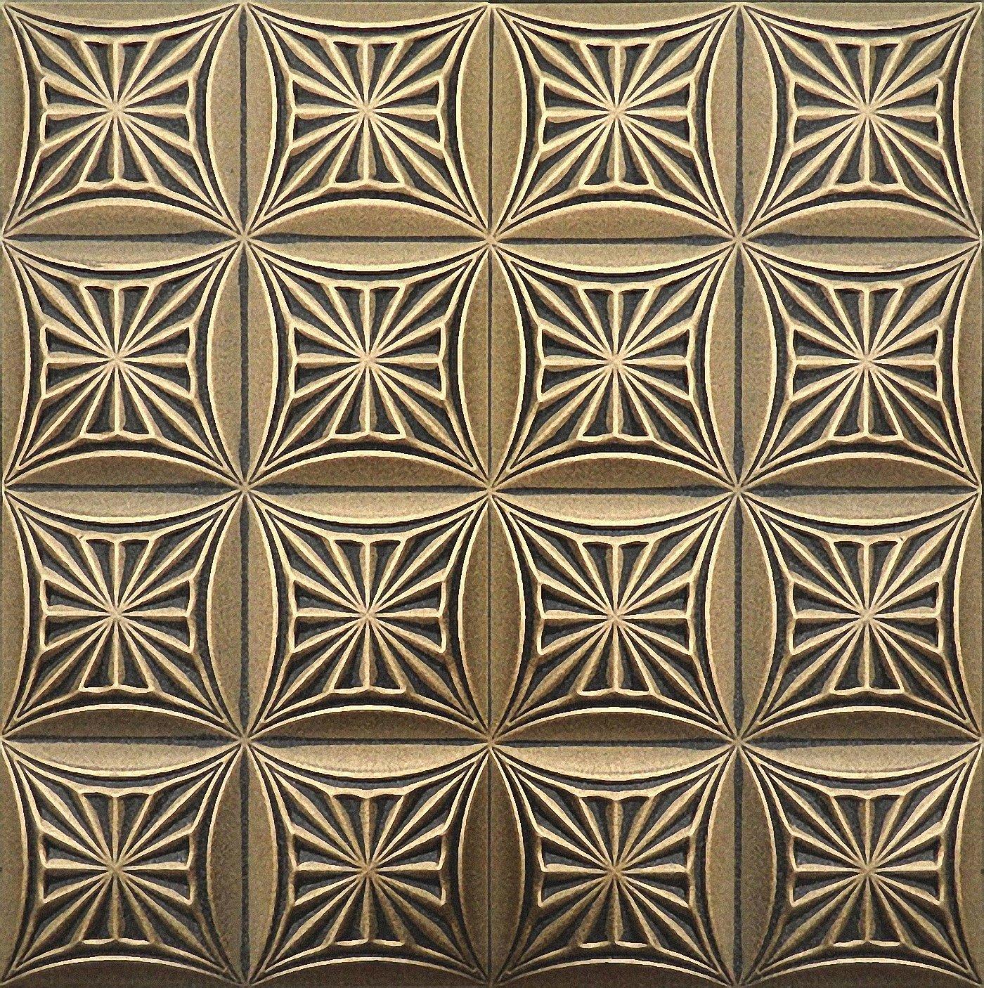 Pintado a mano espuma de poliestireno de techo Tiles Retro 81 negro –  oro, 500 x 500 mm Euro