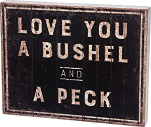 Primitives by Kathy 30358 Rustic-Inspired Box Sign, Bushel & A Peck