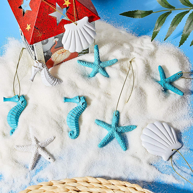 30 Resina Stella Marina Dito di Matita Conchiglie Cavalluccio Marino Ornamenti Pendenti a Tema Spiaggia Assortiti con Foro Preforato per Natale Nozze Casa Decorazione Progetto Artigianale Fai da Te