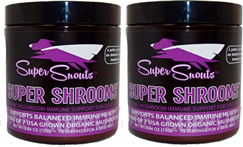Super Snouts Super Shrooms Super 7 Organic Medicinal Mushroom Blend 5.28oz Jar w Scoop