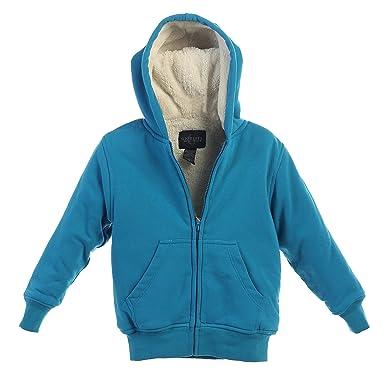 aeed5b61f Gioberti Boys Sherpa Lined Zip Up Fleece Hoodie Jacket, Turquoise, Size 4