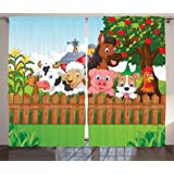 Kids Curtains Cartoon Decor by Ambesonne, Cute Farm Animals on a Farmhouse Barn Fence Comic Mascots with Dog Cow Horse for Boys Girls Room, Living Room Bedroom, 2 Panel Set, 108W X 84L Inches, Multi