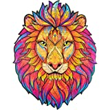 Unidragon Wooden Puzzle Jigsaw, Best Gift for Adults and Kids, Unique Shape Jigsaw Pieces Mysterious Lion, 7.5 x 9.5…