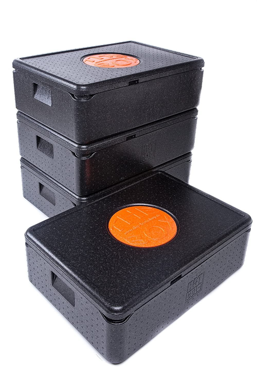*4er Paket* - THE BOX Thermobox Universal klein, Art. 79800; schwarz, Außenmaß 68,5 x 48,5 x 22,5 cm, Innenmaß 62,5 x 42,5 x 16 cm, Nutzhöhe 16 cm, 42 l.