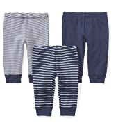 Moon and Back Baby Set of 3 Organic Pants, Navy Sea, 3-6 Months