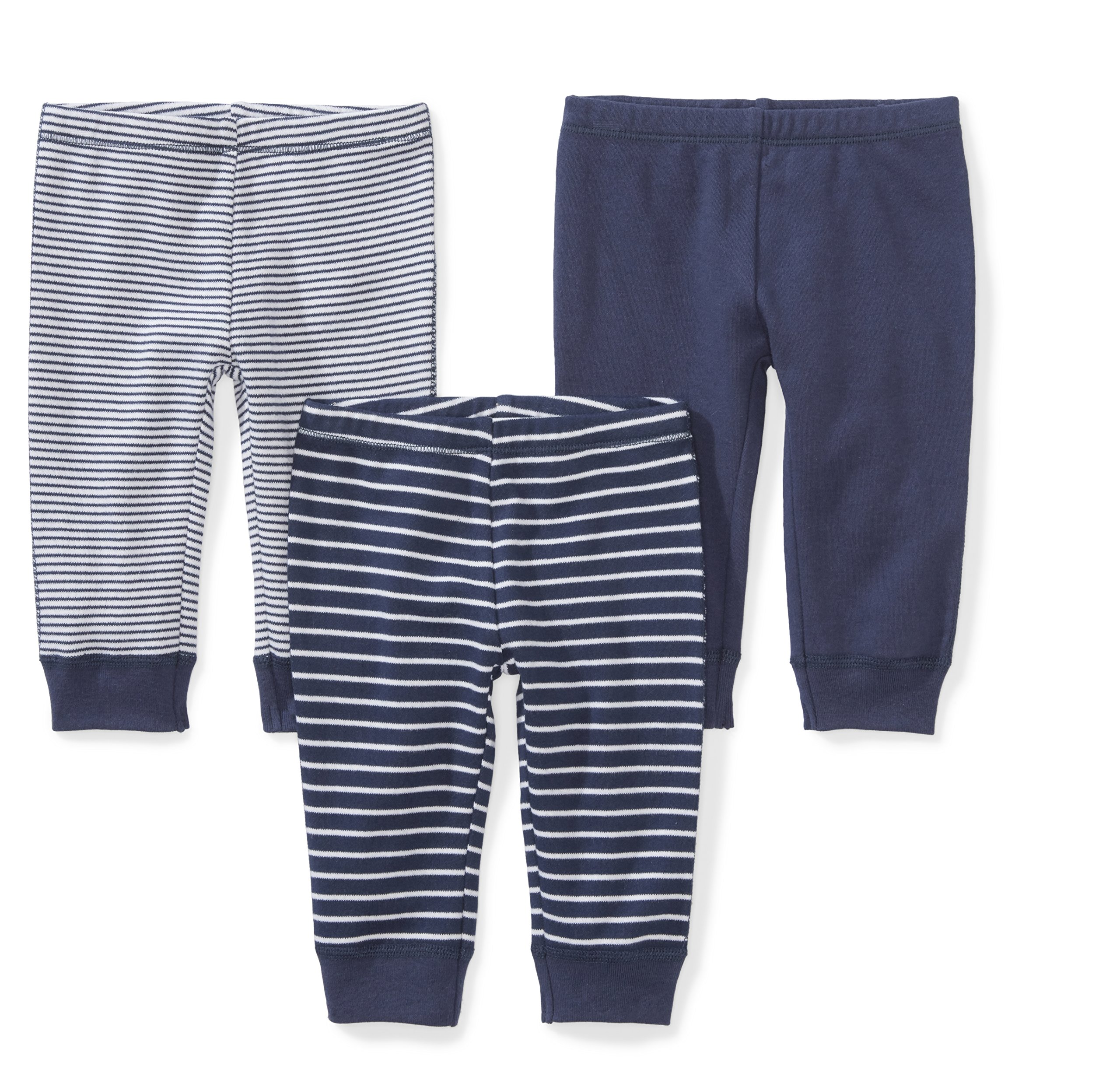 Moon and Back Baby Set of 3 Organic Pants, Navy Sea, 0-3 Months