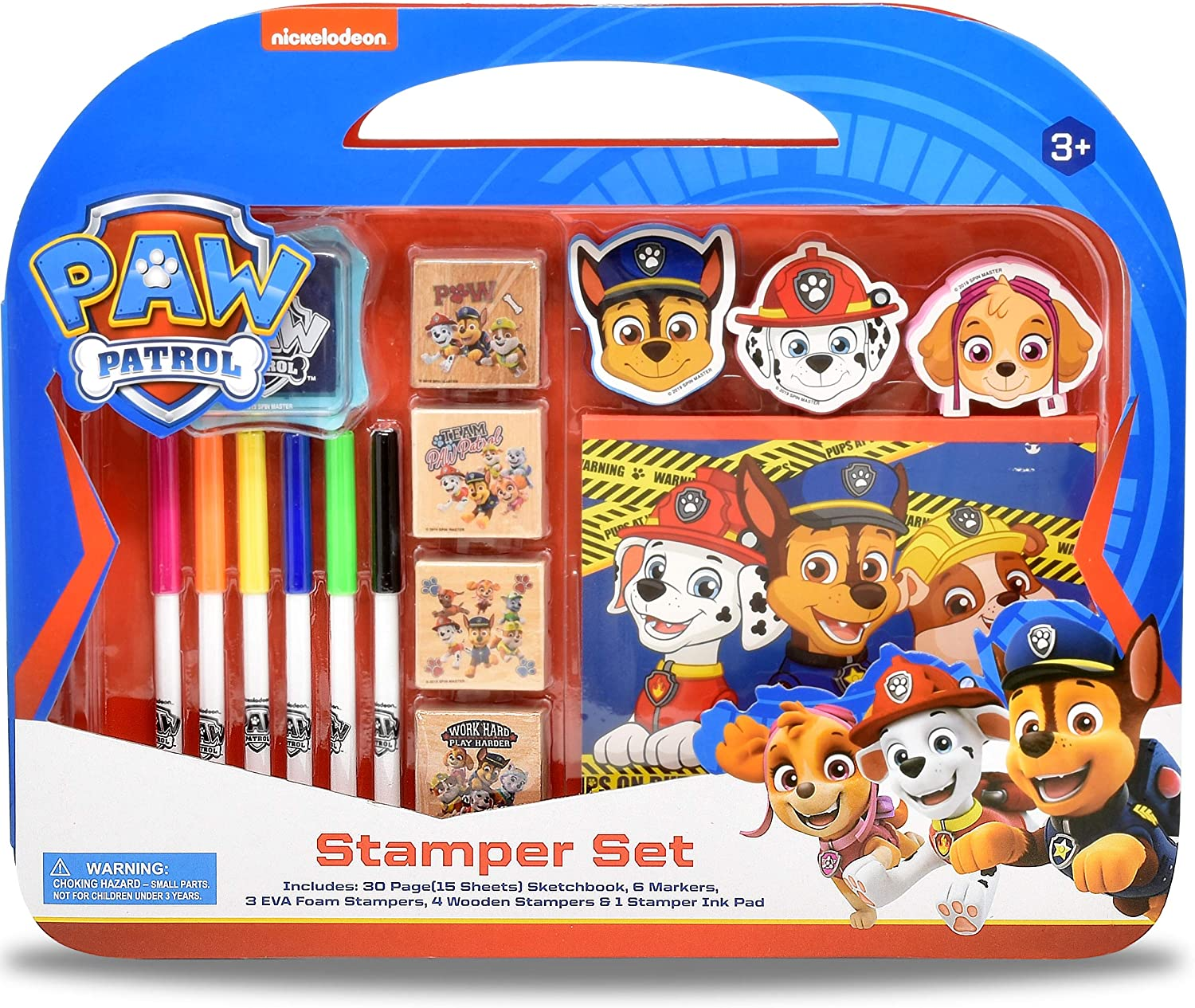 Paw Patrol Coloring Stamper and Activity Set  Mess Free Craft Kit for Toddlers and Kids  Drawing Art Supplies Included Sketch Book  6 Color Markers  3 Foam and 4 Wooden Stampers