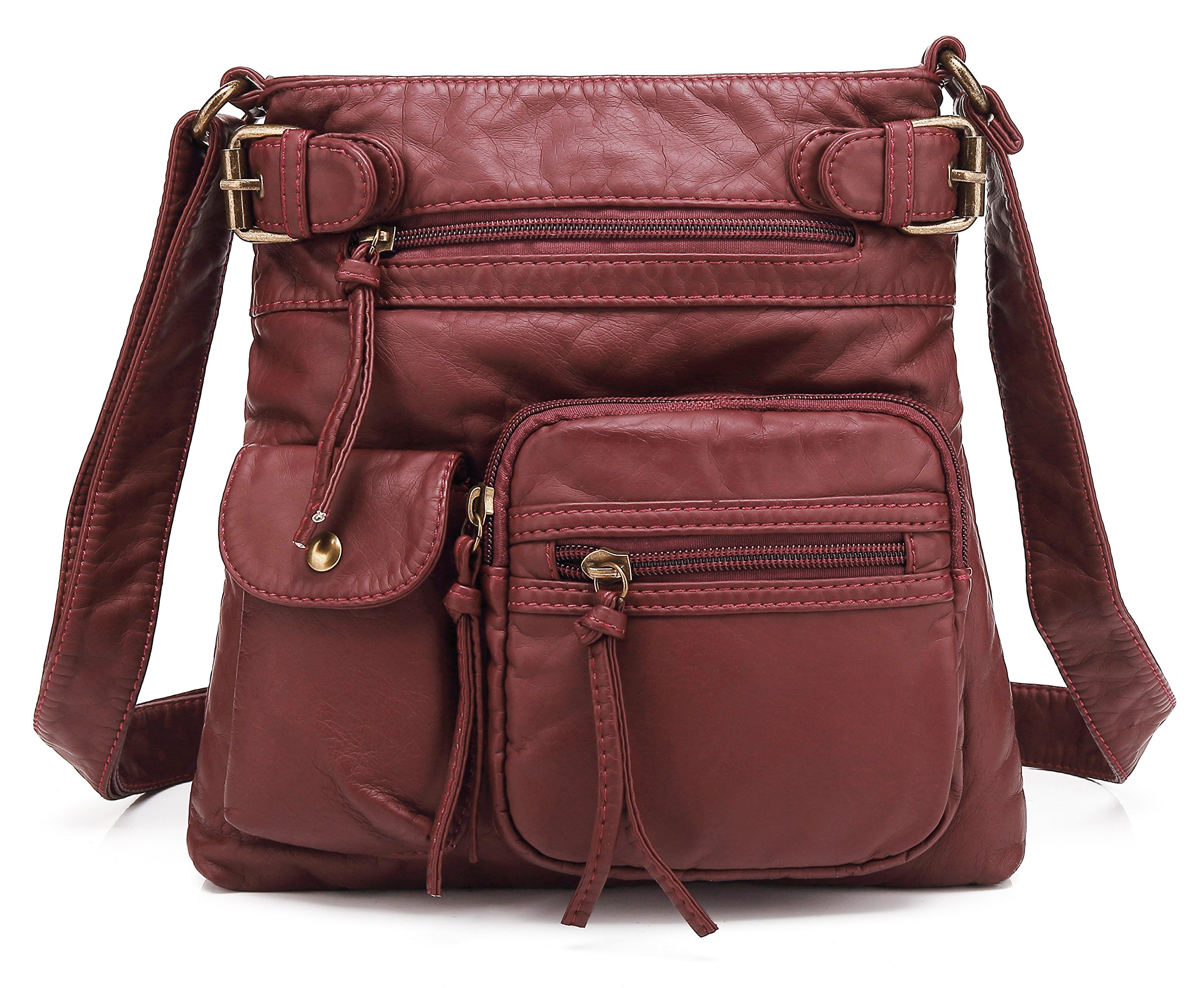 Scarleton Small Multi Pocket Crossbody Bag for Women, Ultra Soft Washed Vegan Leather Shoulder Purse, Burgundy, H183320
