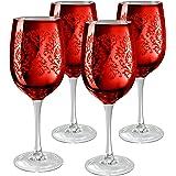 Red Brocade Wine Glasses
