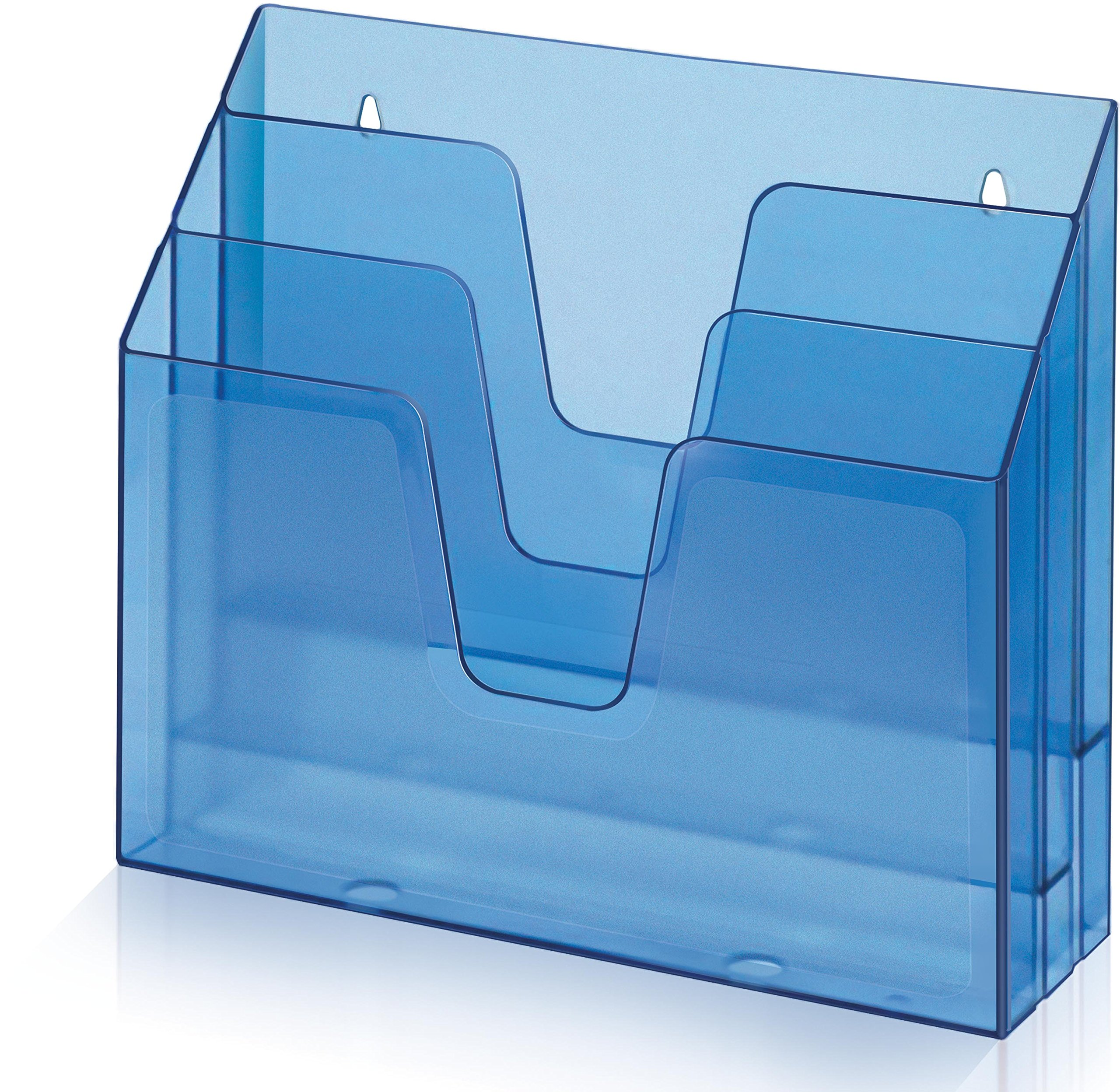 Acrimet Horizontal Triple File Folder Organizer (Clear Blue Color)