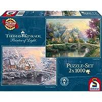 Schmidt - SCH-59468 - Lamplight Manour/Winter in Lamplight Manour, 2x1000 stukjes Puzzel - vanaf 12 jaar - van Thomas Kinkade