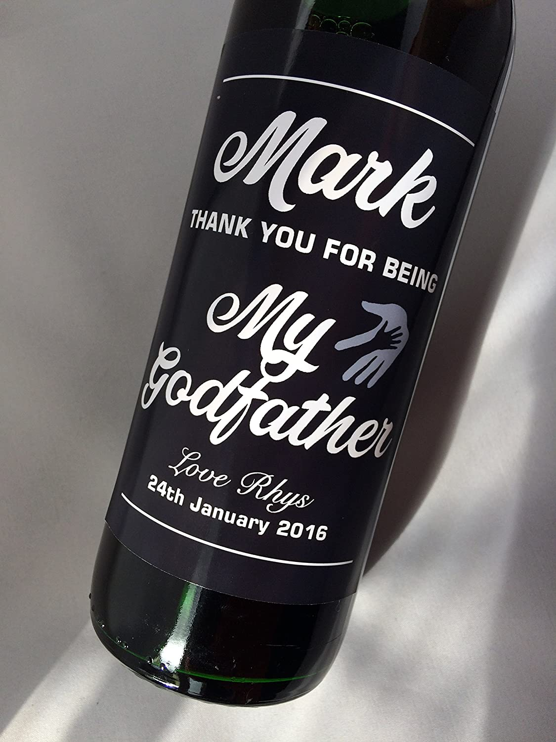 Personalised Thank you for being my Godfather Christening Baptism Wine Bottle label Gift Purple Products