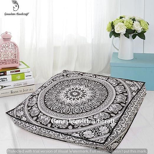 Funda de almohada decorativa de estilo indio bohemio de GANESHAM, funda de cojín de bohemio mandala, camas indias para mascotas hechas por mandala tapiz ...