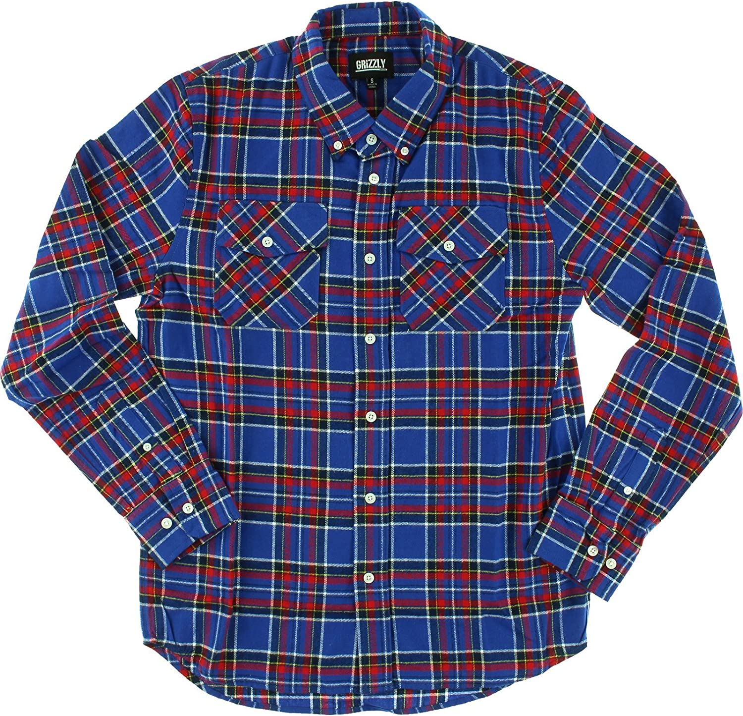 Size Grizzly Tundra Button-Up Long Sleeve Shirt LARGE in Blue Plaid