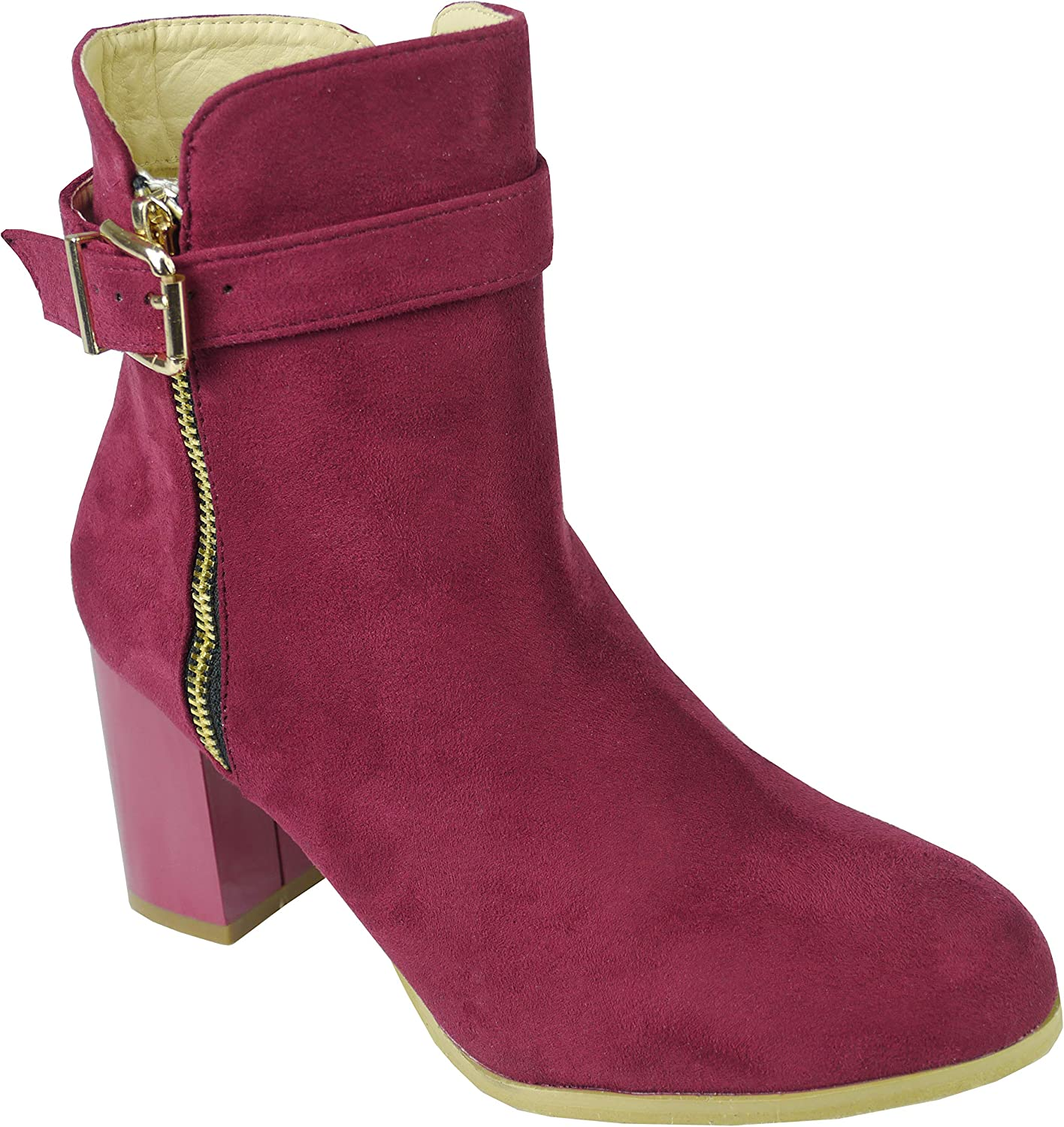 BeMeesh Femme Chaussures Talons Boucle Cheville Bottines Zip Lateral