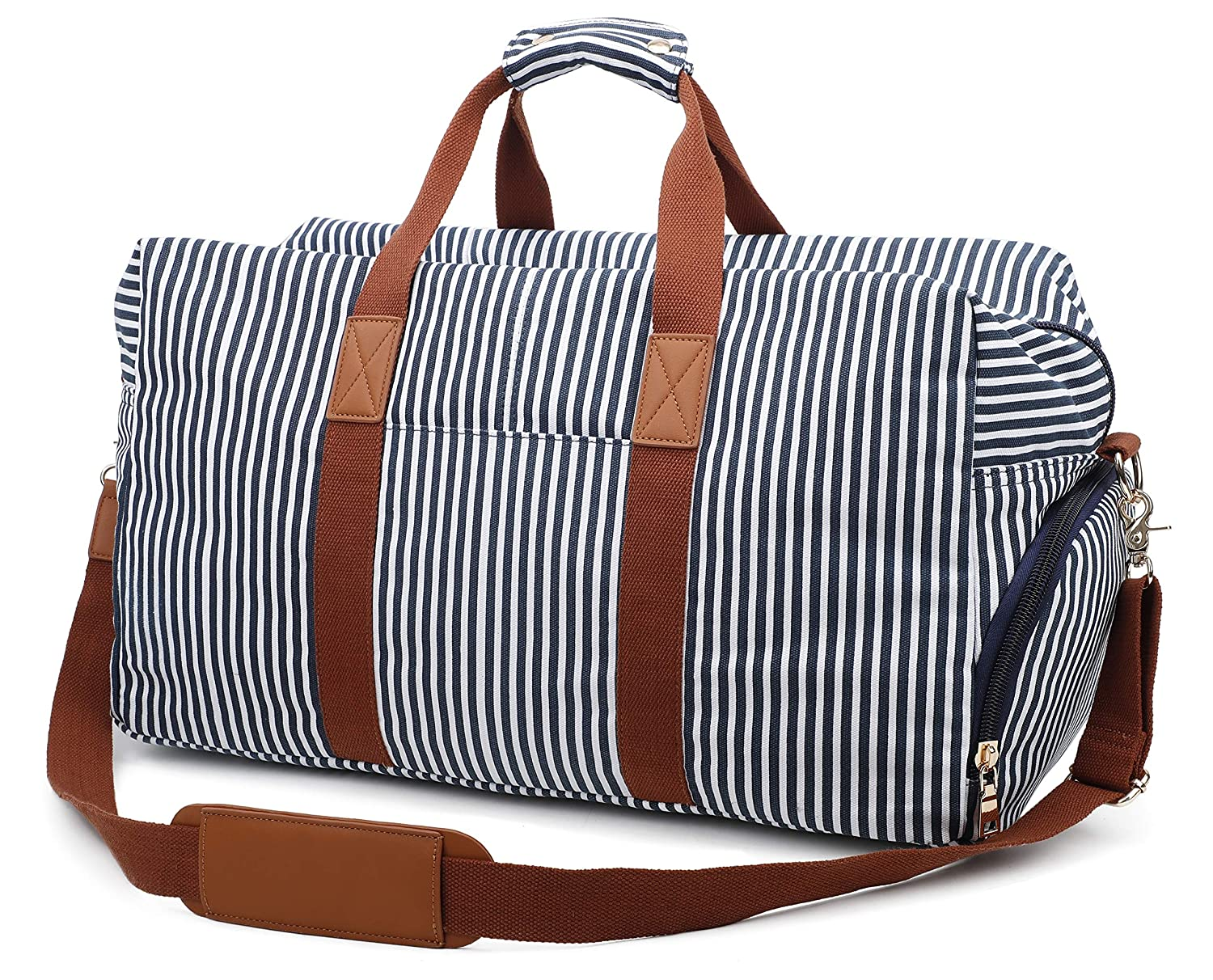 Gimay Canvas Duffel Bag Overnight Bag for Men and Women Weekender Tote Bag with Shoe Compartment Blue Stripe